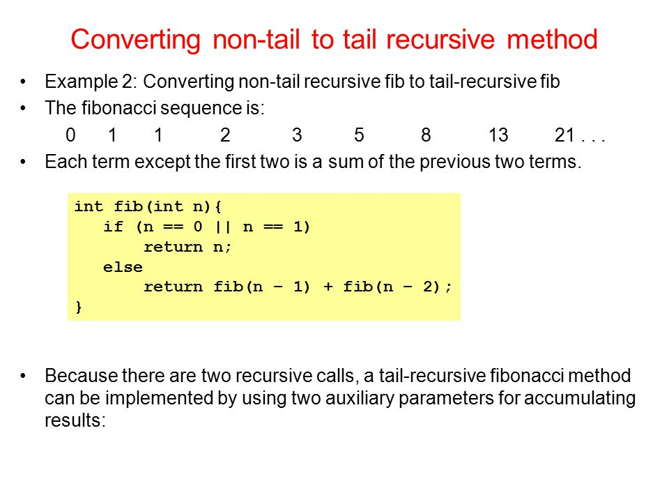 Converting non-tail to tail recursive method