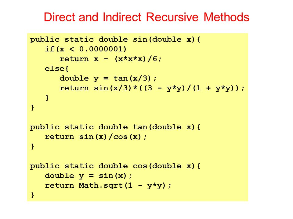 Direct and Indirect Recursive Methods