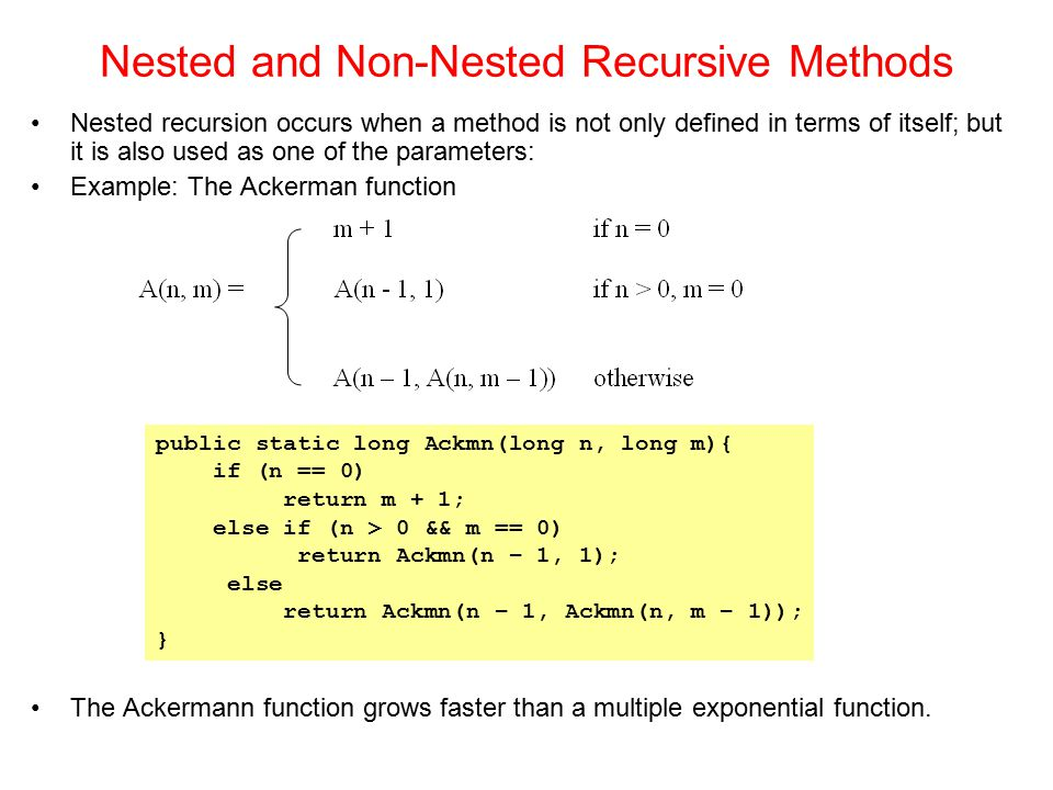 Nested and Non-Nested Recursive Methods