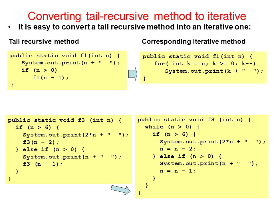 Converting tail-recursive method to iterative