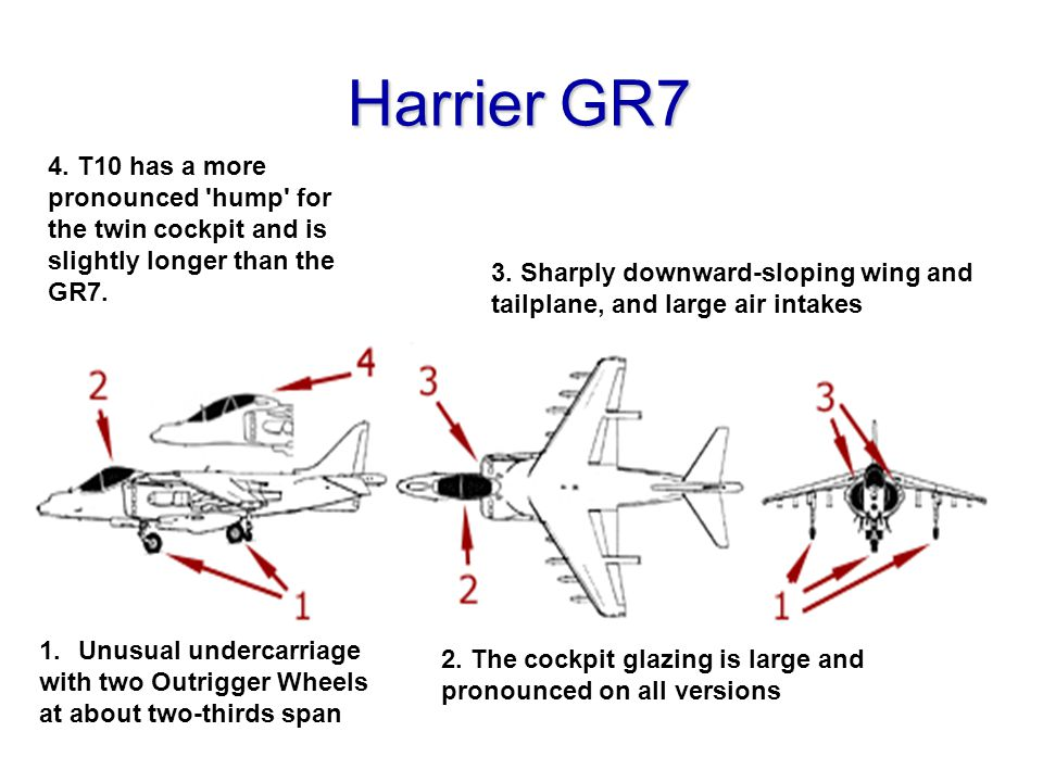 Harrier GR7 4. T10 has a more pronounced hump for the twin cockpit and is slightly longer than the GR7.