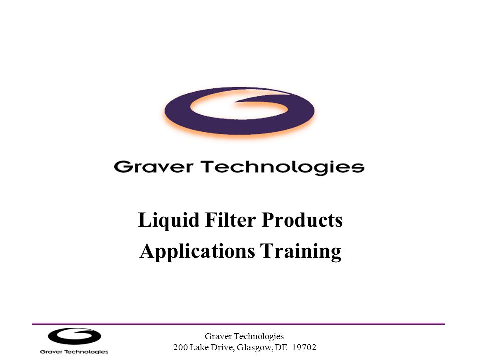 Liquid Filter Products Applications Training