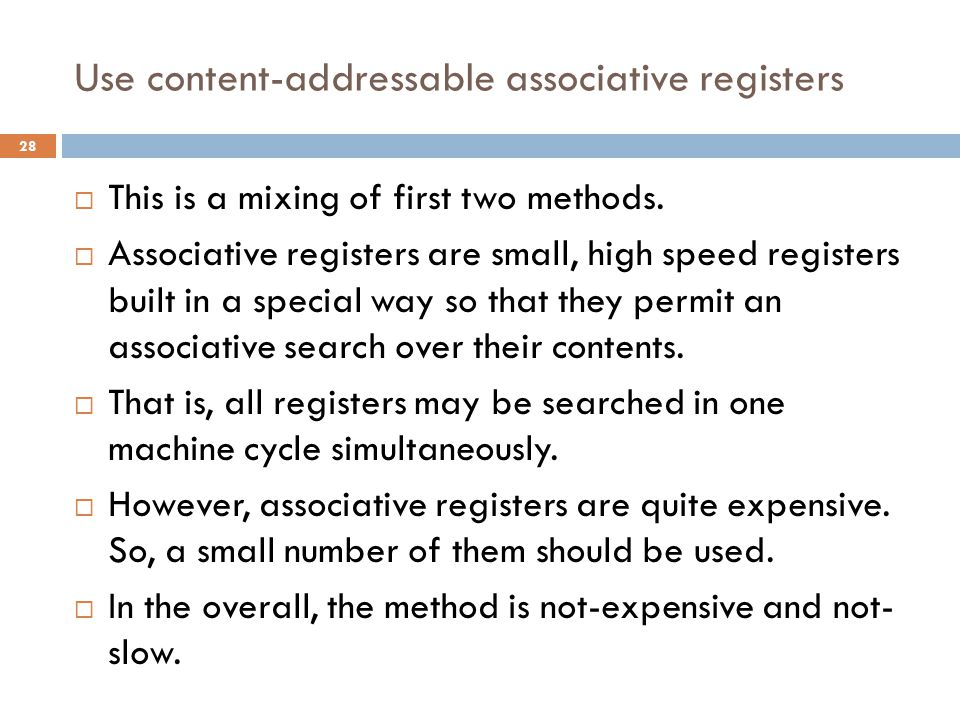 Use content-addressable associative registers