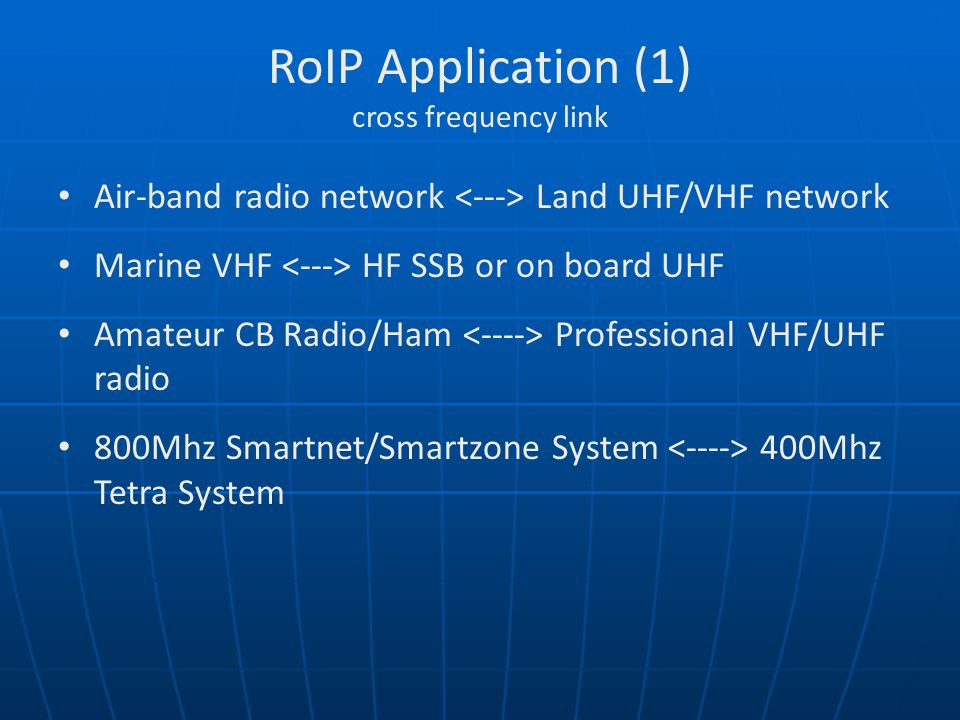 RoIP Application (1) cross frequency link