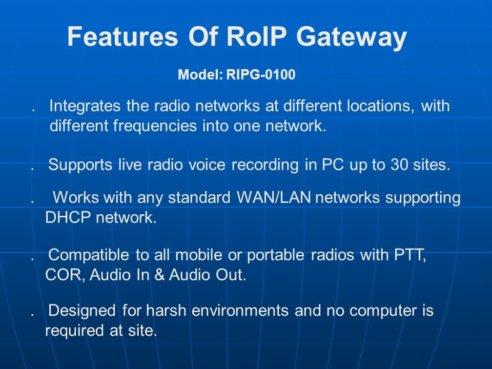 Features Of RoIP Gateway