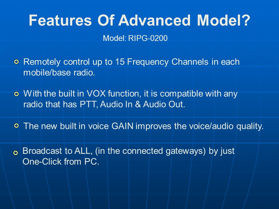 Features Of Advanced Model