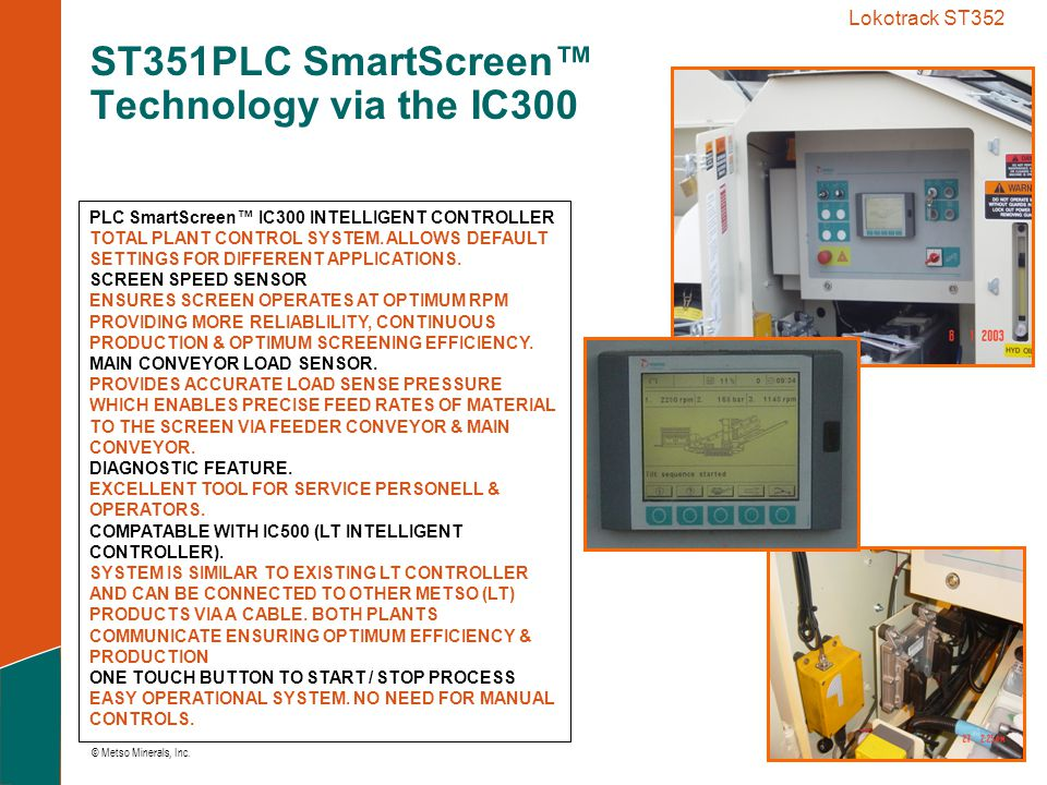 ST351PLC SmartScreen™ Technology via the IC300