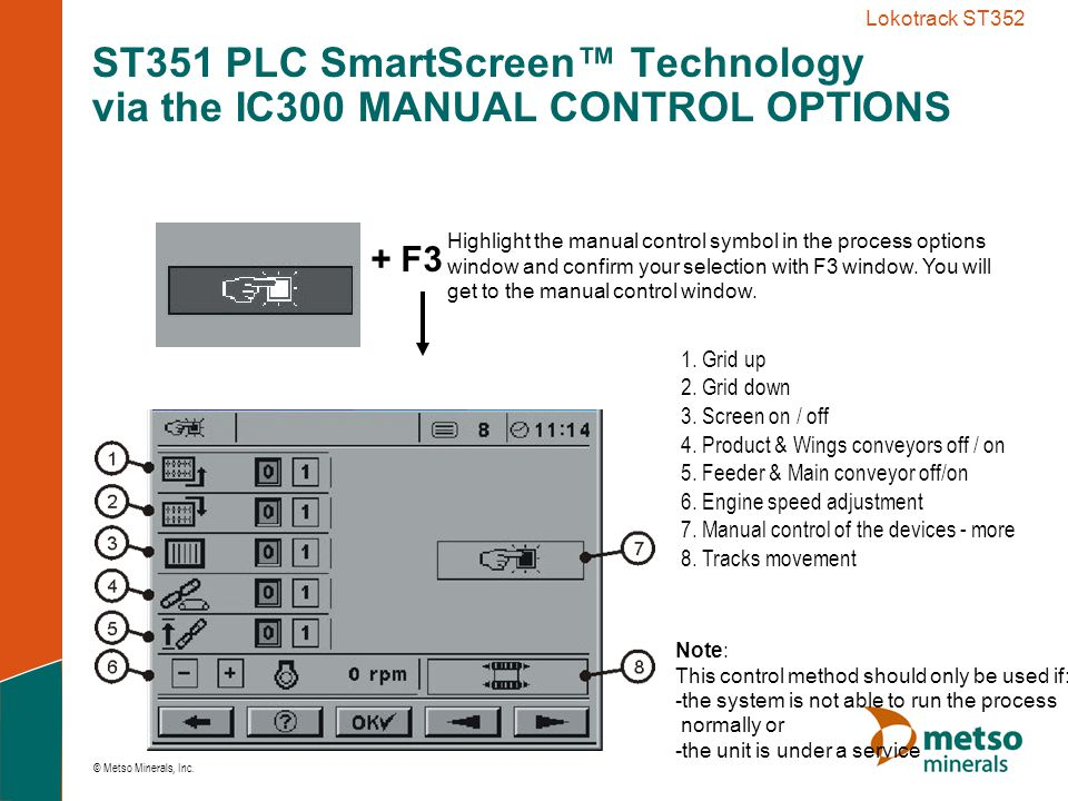 ST351 PLC SmartScreen™ Technology via the IC300 MANUAL CONTROL OPTIONS