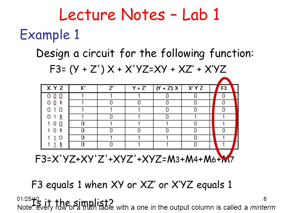 Lecture Notes – Lab 1 Example 1