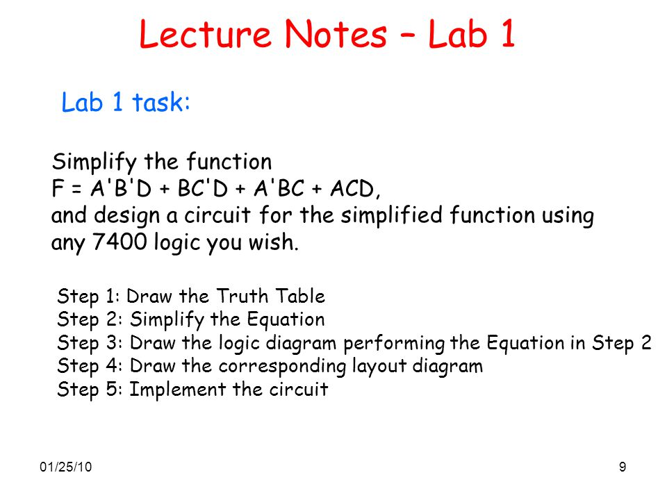 Lecture Notes – Lab 1 Lab 1 task: