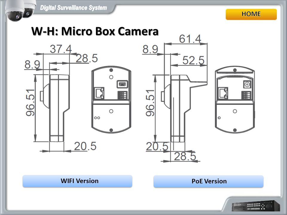 W-H: Micro Box Camera WIFI Version PoE Version
