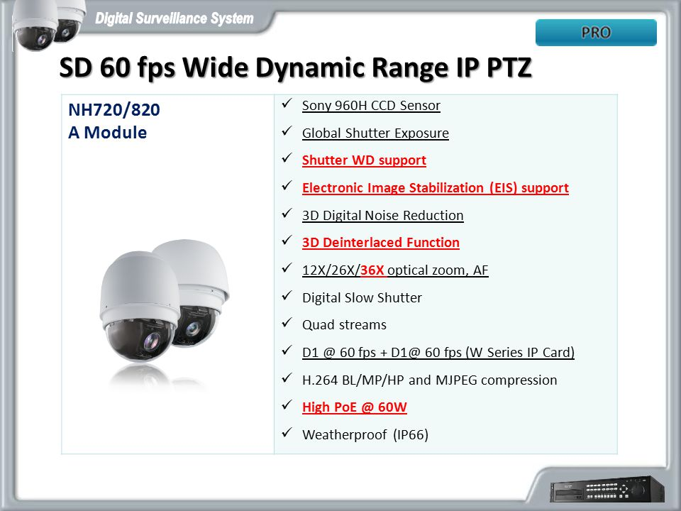 SD 60 fps Wide Dynamic Range IP PTZ