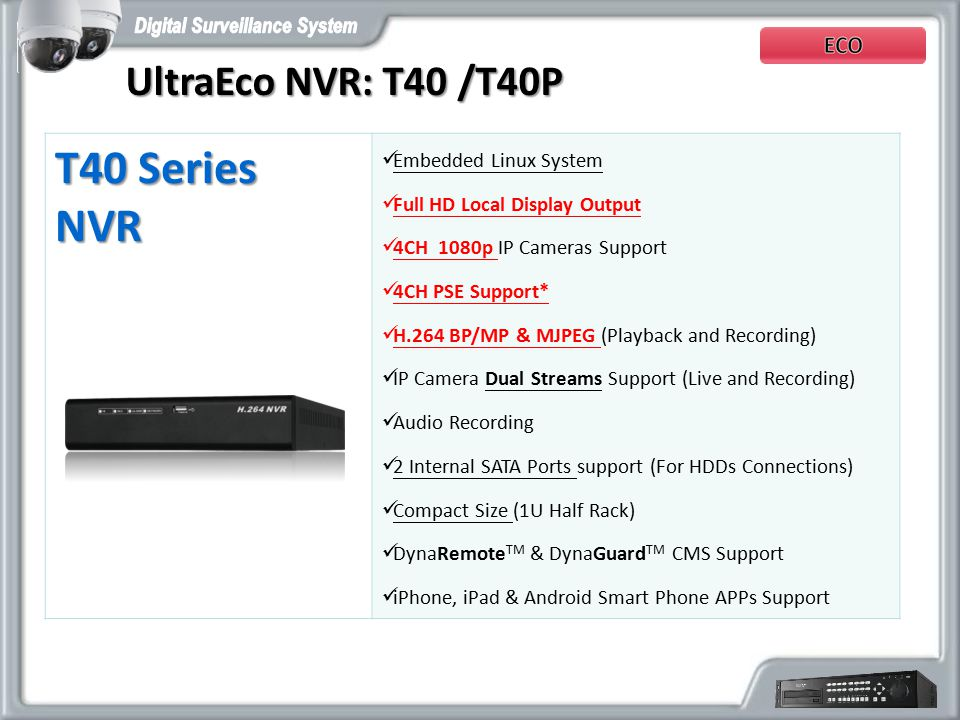 T40 Series NVR UltraEco NVR: T40 /T40P Embedded Linux System