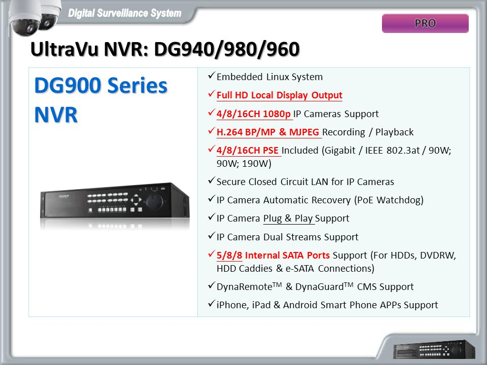 DG900 Series NVR UltraVu NVR: DG940/980/960 Embedded Linux System