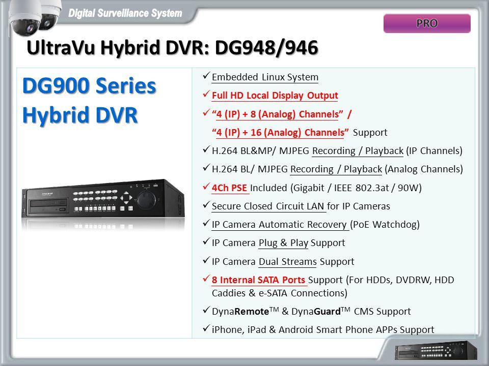 DG900 Series Hybrid DVR UltraVu Hybrid DVR: DG948/946