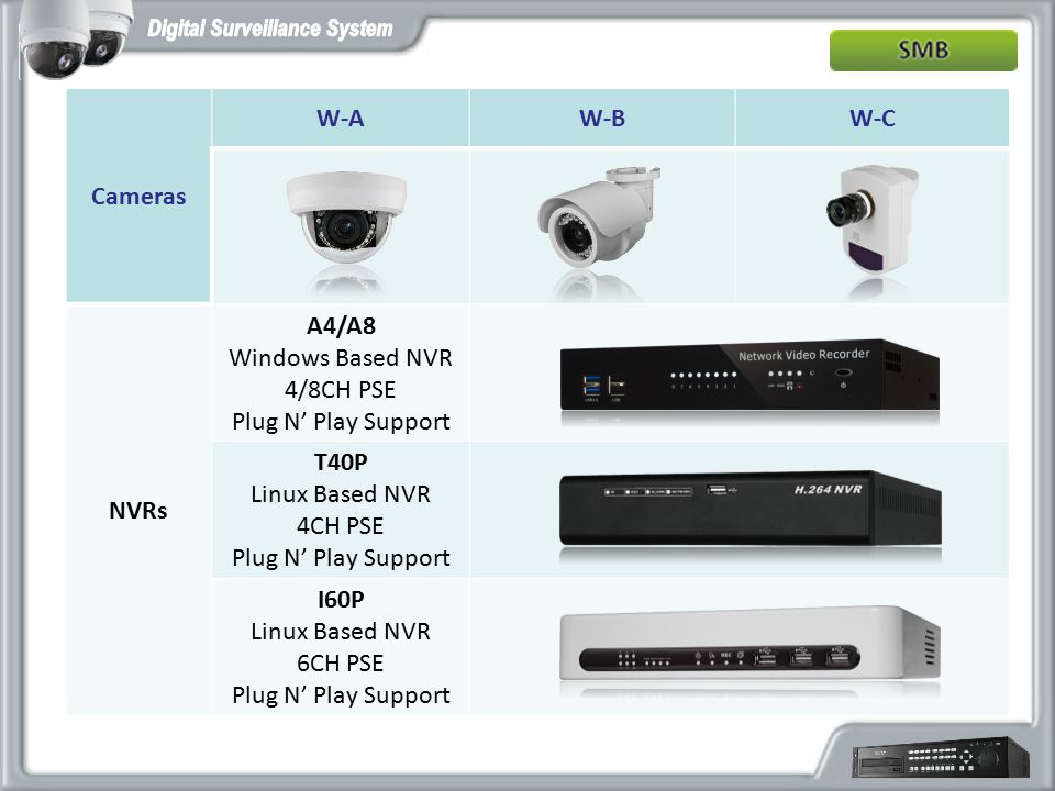 Cameras W-A. W-B. W-C. NVRs. A4/A8. Windows Based NVR. 4/8CH PSE. Plug N' Play Support. T40P.