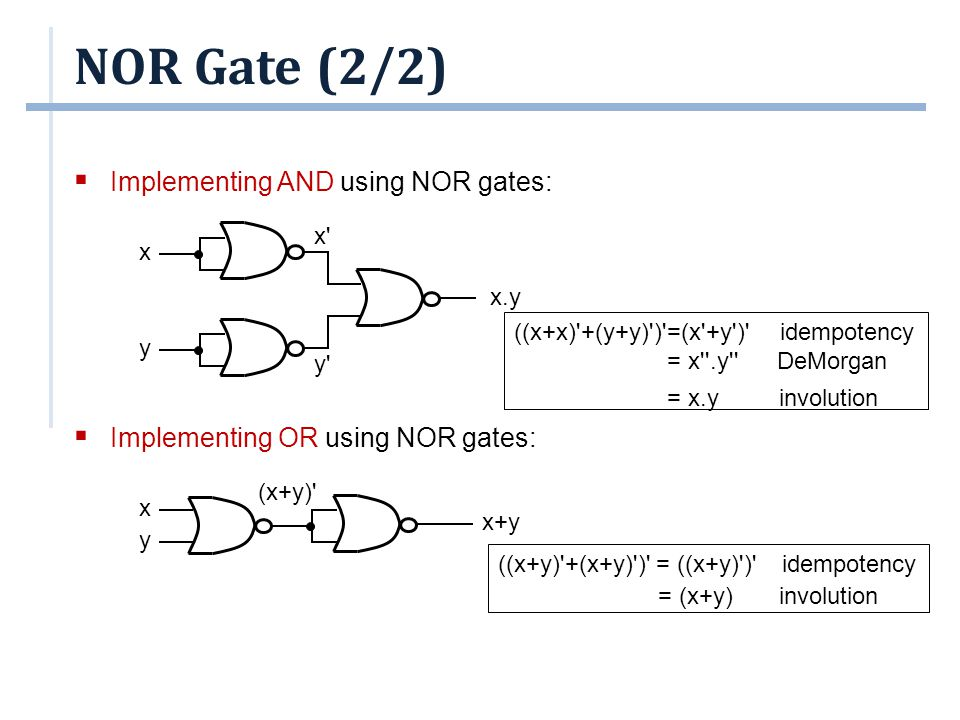 NOR Gate (2/2) Implementing AND using NOR gates:
