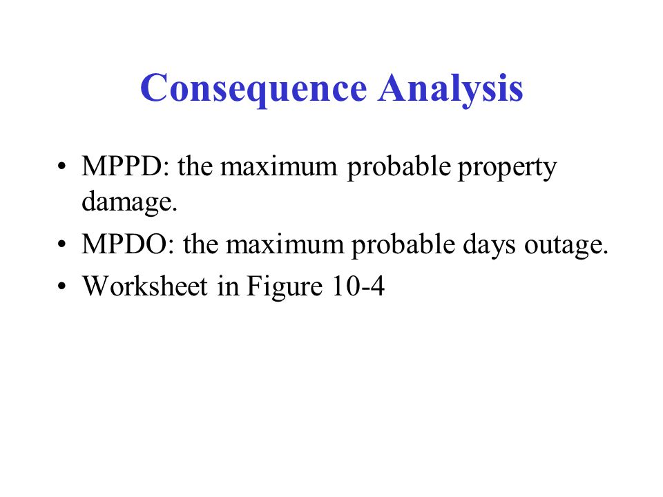 Consequence Analysis MPPD: the maximum probable property damage.