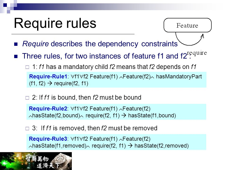Require rules Require describes the dependency constraints