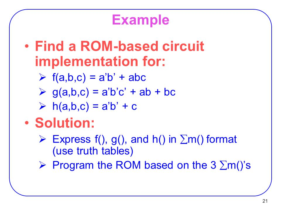 Find a ROM-based circuit implementation for: