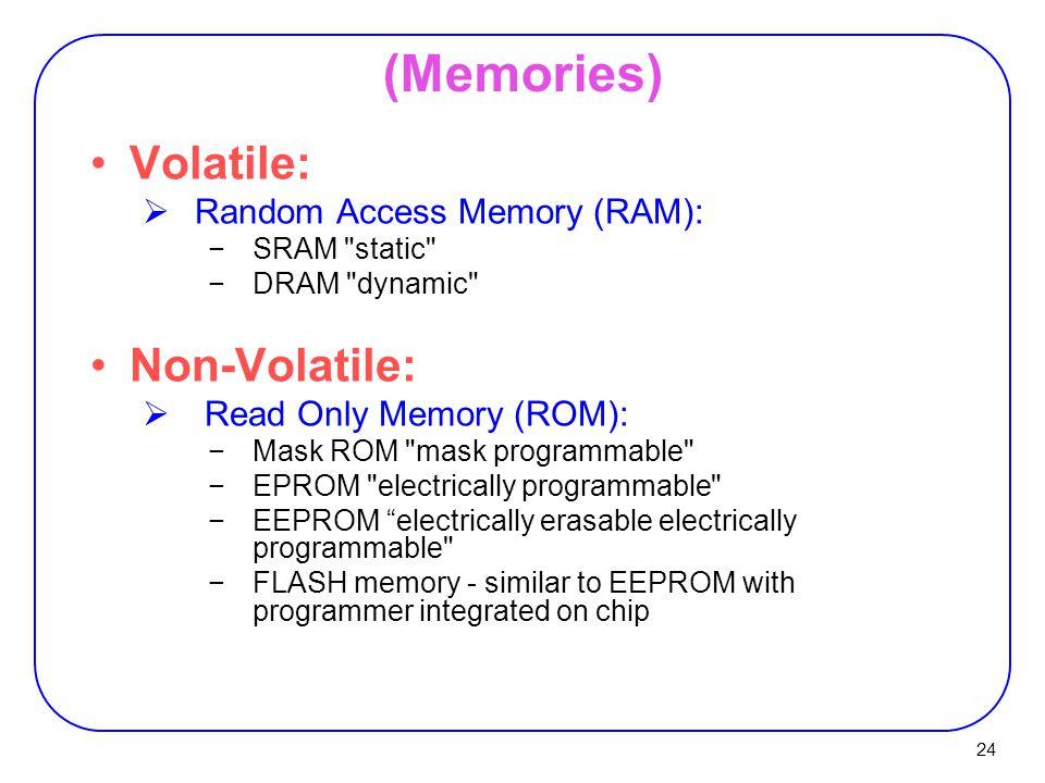 (Memories) Volatile: Non-Volatile: Random Access Memory (RAM):