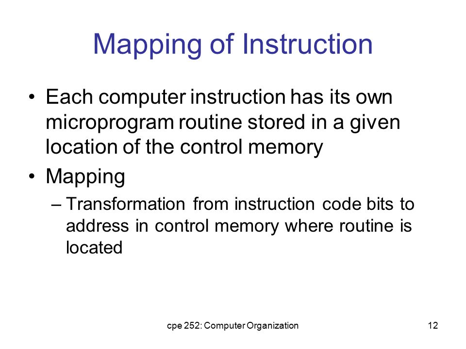Mapping of Instruction