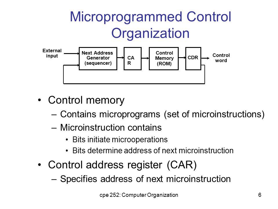 Microprogrammed Control Organization