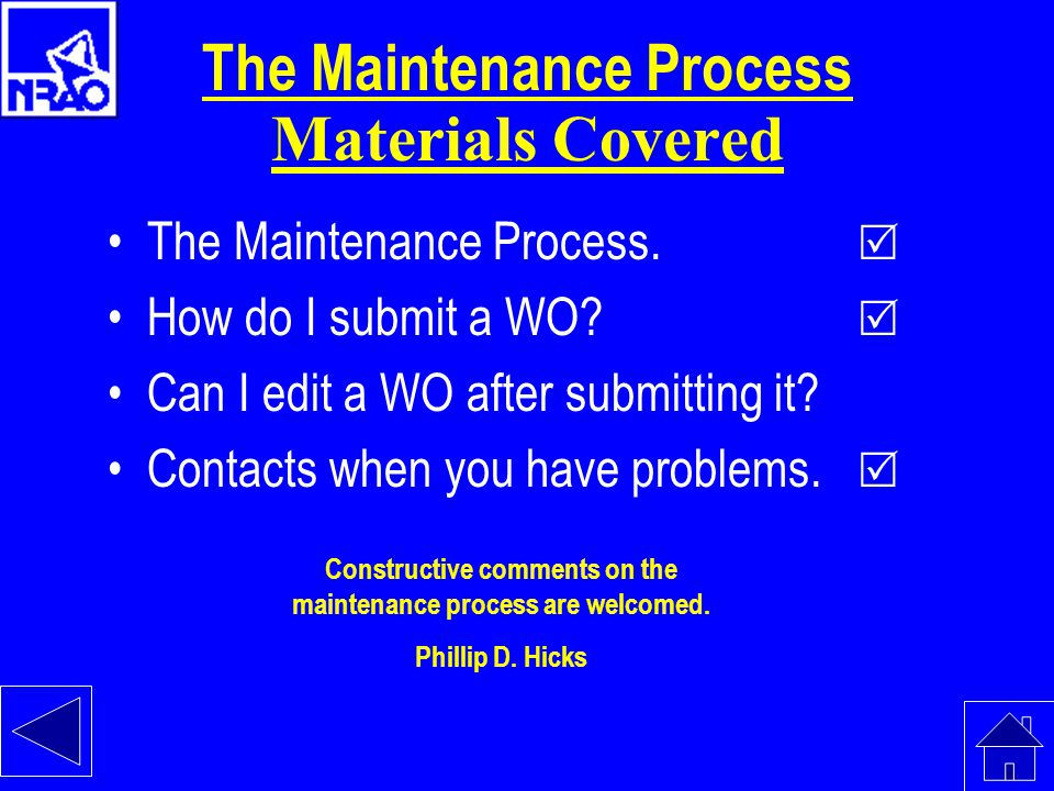 The Maintenance Process Materials Covered