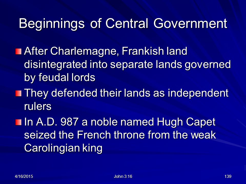 Beginnings of Central Government