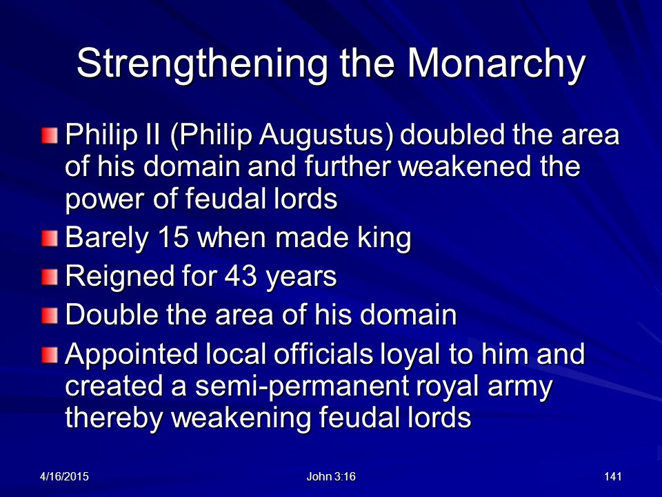 Strengthening the Monarchy