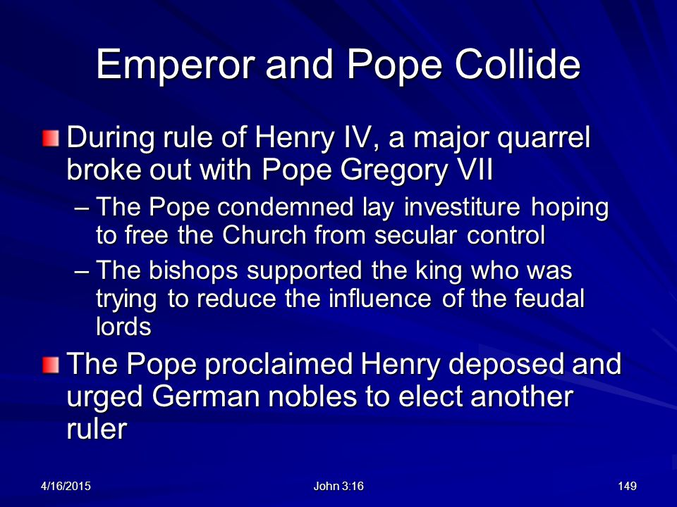 Emperor and Pope Collide