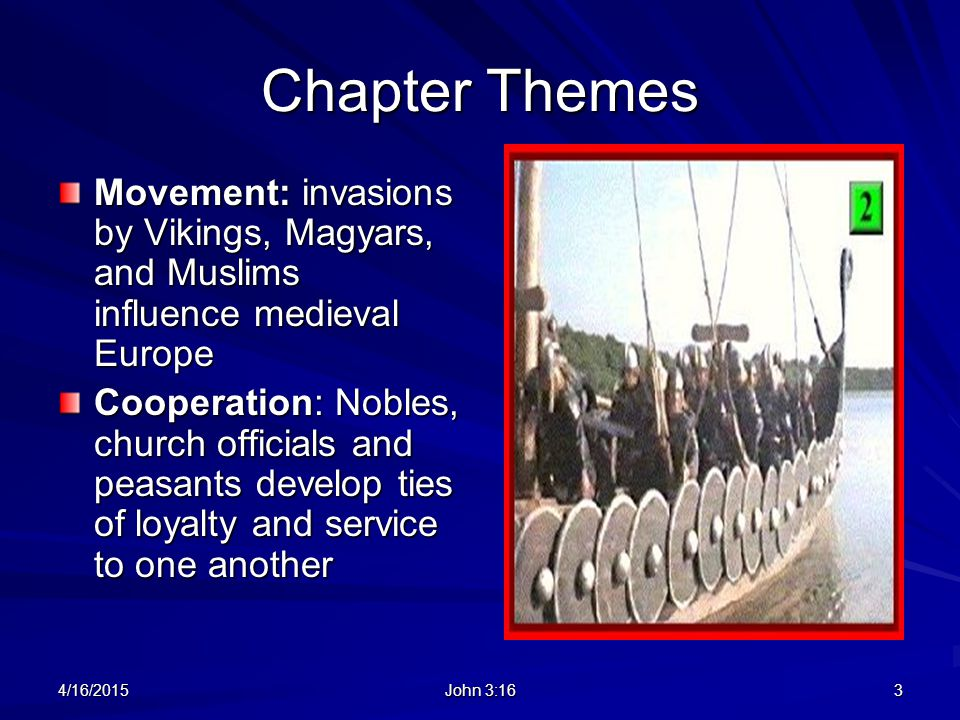 Chapter Themes Movement: invasions by Vikings, Magyars, and Muslims influence medieval Europe.