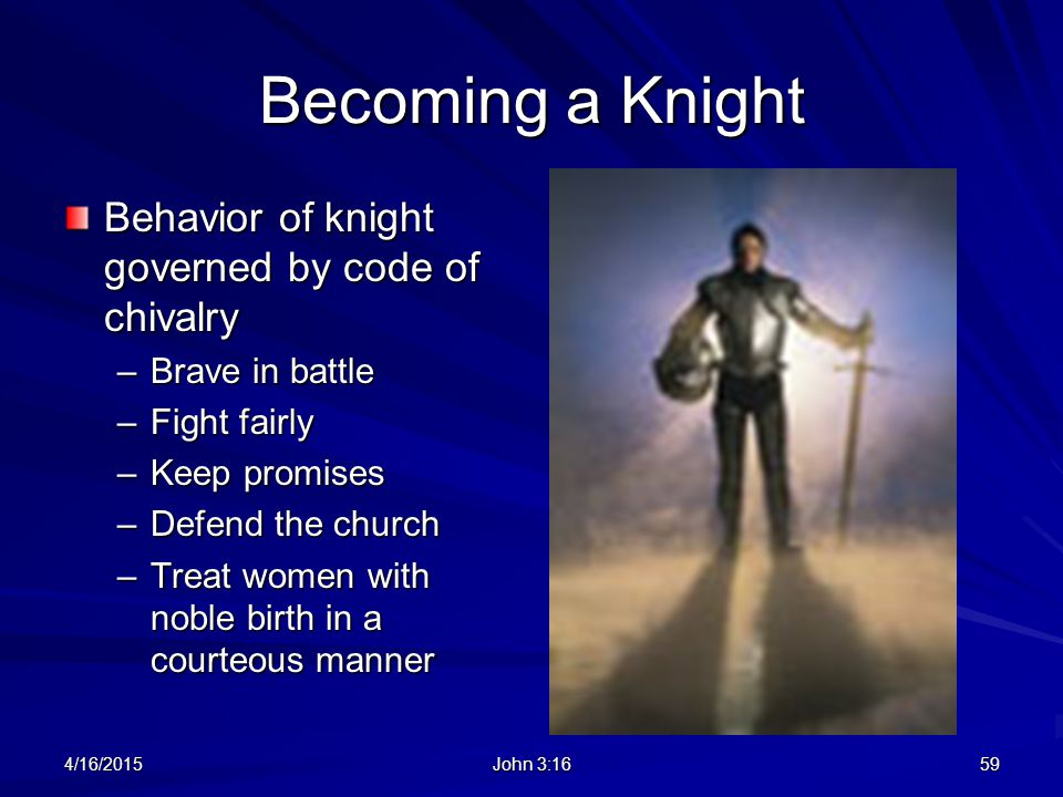Becoming a Knight Behavior of knight governed by code of chivalry