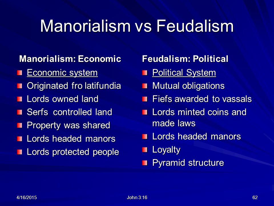 Manorialism vs Feudalism