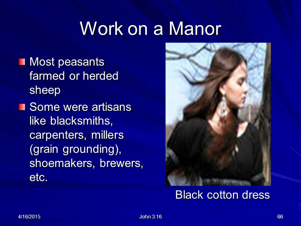 Work on a Manor Most peasants farmed or herded sheep
