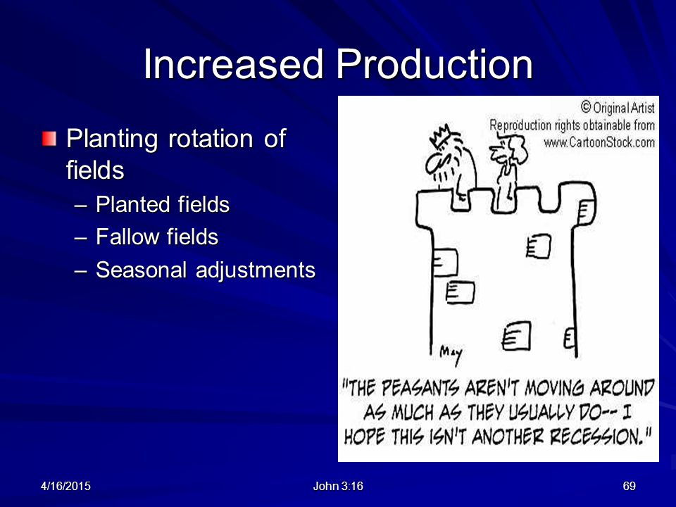 Increased Production Planting rotation of fields Planted fields