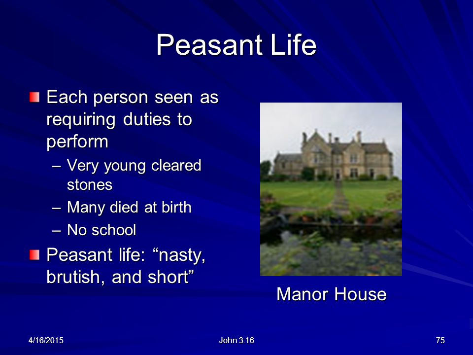 Peasant Life Each person seen as requiring duties to perform