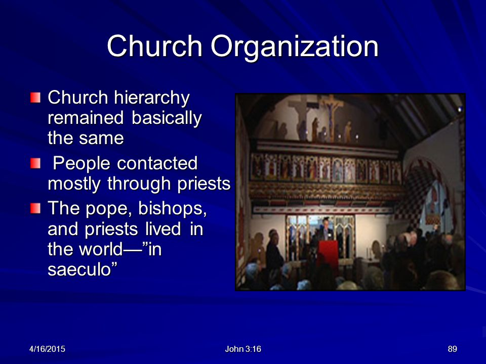 Church Organization Church hierarchy remained basically the same