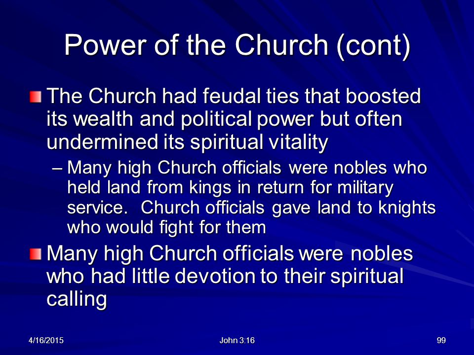 Power of the Church (cont)
