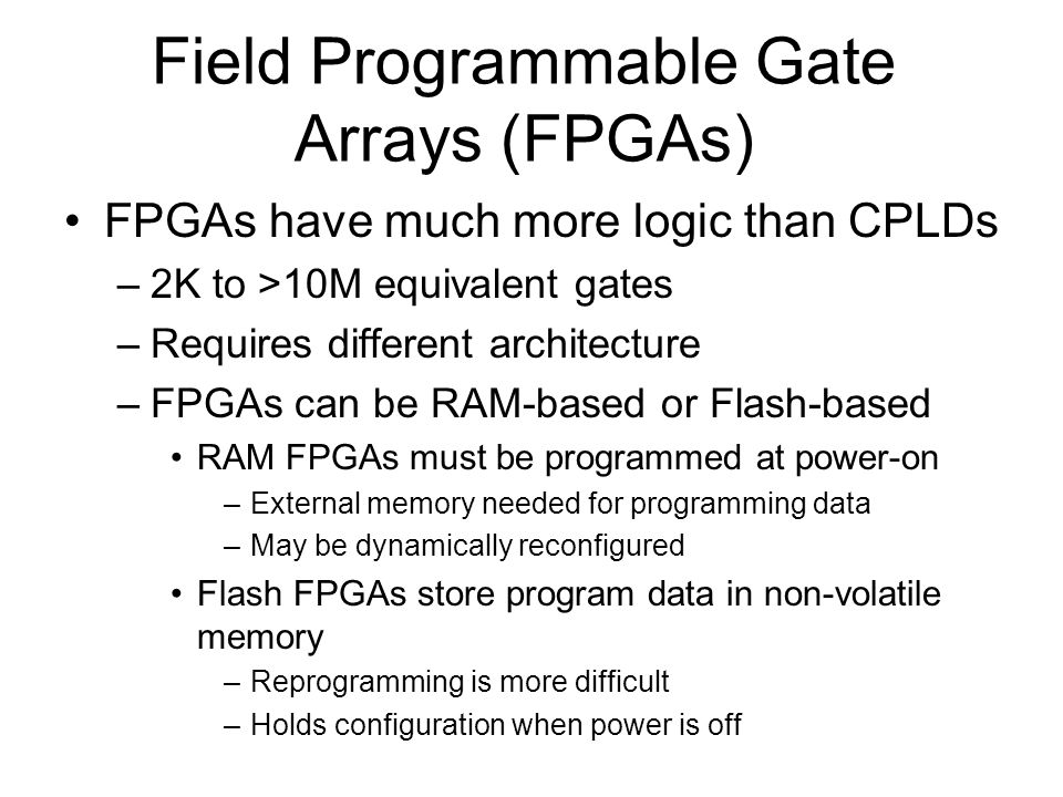 Field Programmable Gate Arrays (FPGAs)