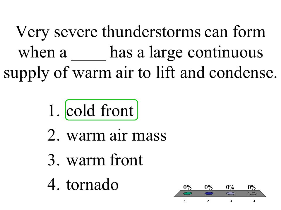 Very severe thunderstorms can form when a ____ has a large continuous supply of warm air to lift and condense.