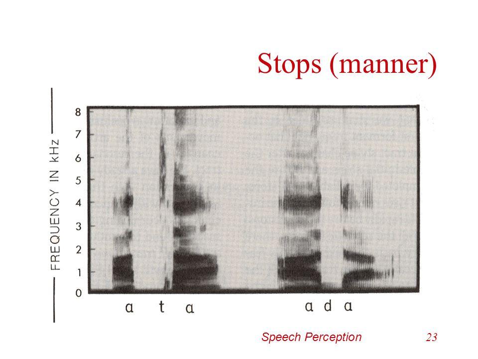 Stops (manner) Speech Perception