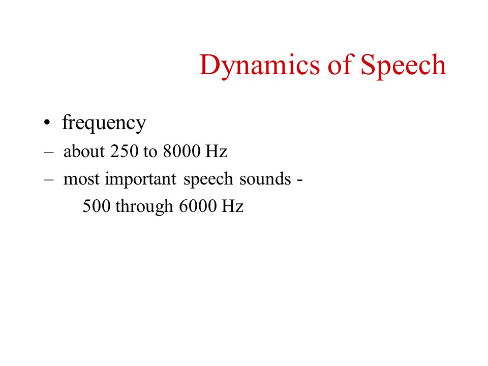 Dynamics of Speech frequency about 250 to 8000 Hz