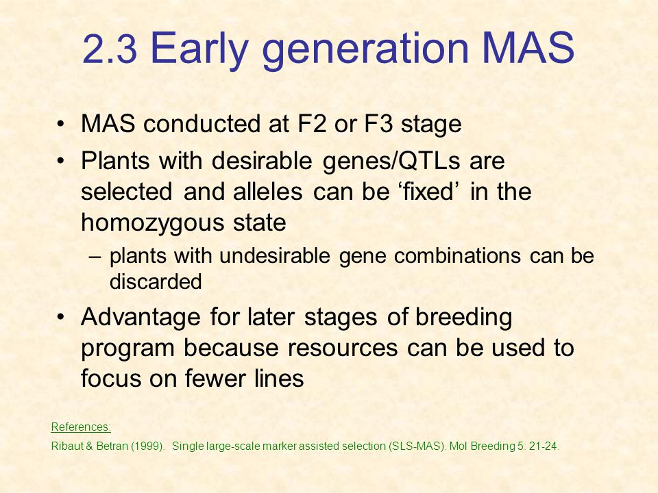 2.3 Early generation MAS MAS conducted at F2 or F3 stage