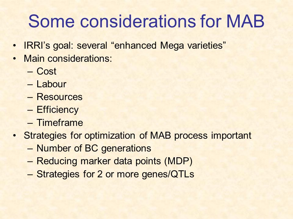 Some considerations for MAB