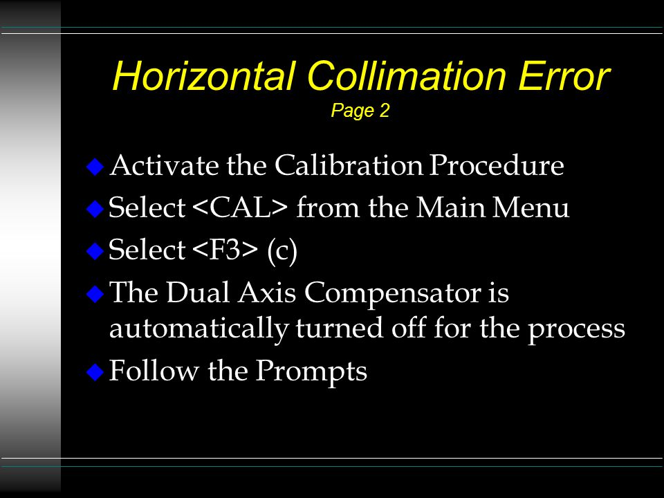Horizontal Collimation Error Page 2