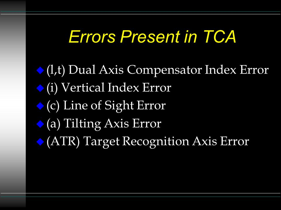 Errors Present in TCA (l,t) Dual Axis Compensator Index Error