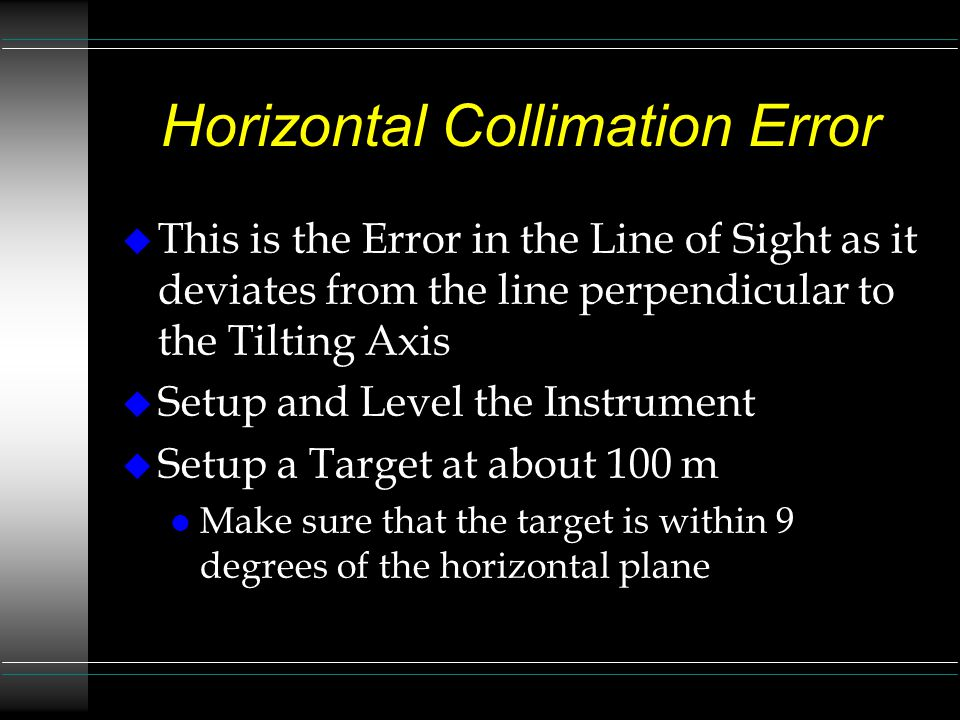Horizontal Collimation Error