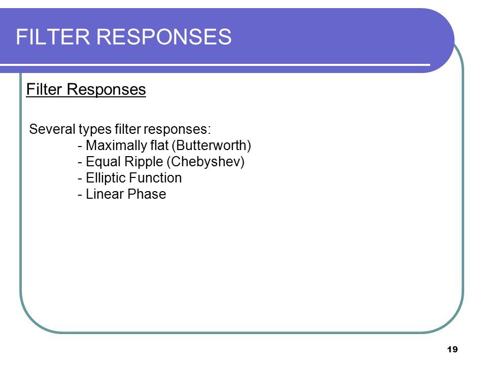 FILTER RESPONSES Filter Responses Several types filter responses: