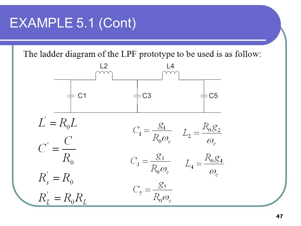 EXAMPLE 5.1 (Cont) The ladder diagram of the LPF prototype to be used is as follow: